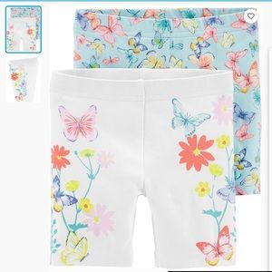 6M - 2 pairs of shorts - Flowers and 🦋